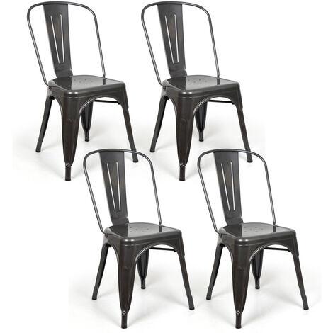 Lot de 4 chaises industriels Tulio Acier GunMetal 46x52x85cm