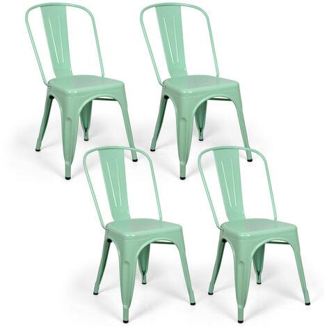 Lot de 4 chaises industriels Tulio Acier Vert Menthe 46x52x85cm.