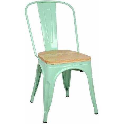 Lot de 4 chaises industriels Tulio Assise bois - 46x52x85cm. - Vert