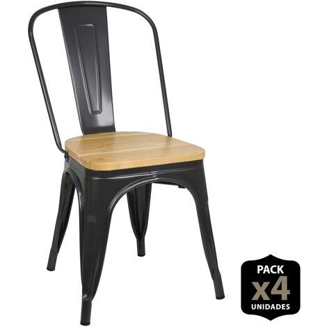 Lot de 4 chaises industriels Tulio Assise bois -Gun Metal