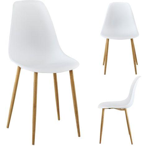 Lot de 4 chaises Kally coloris blanc - Blanc