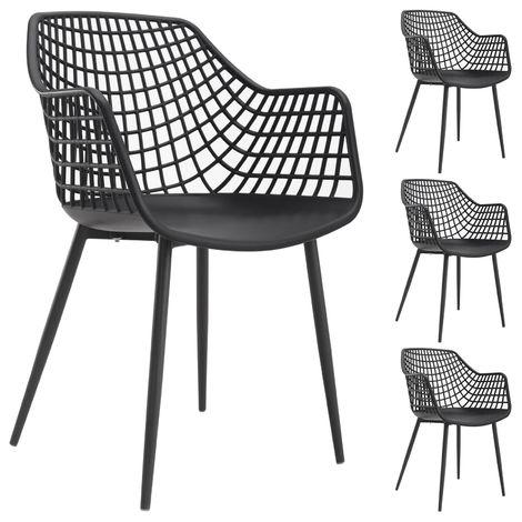 Lot de 4 chaises LUCIA pour salle à manger ou cuisine au design retro avec accoudoirs, coque en plastique noir et 4 pieds métal noir