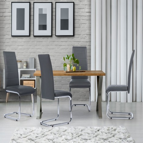 Lot de 4 chaises Mia grises pour salle à manger