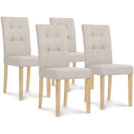 Lot de 4 chaises Polga capitonnées beiges pour salle à manger
