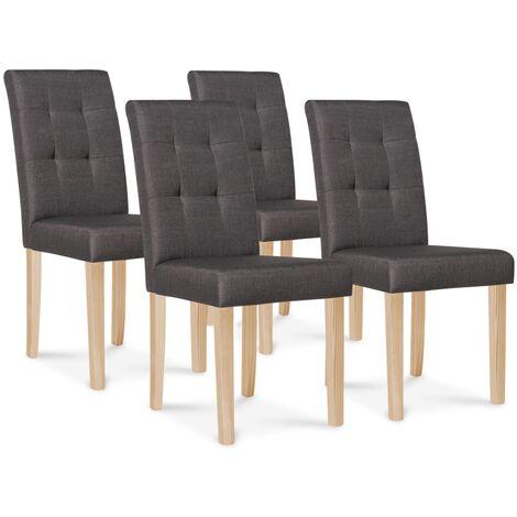 Lot de 4 chaises POLGA capitonnées gris anthracite pour salle à manger
