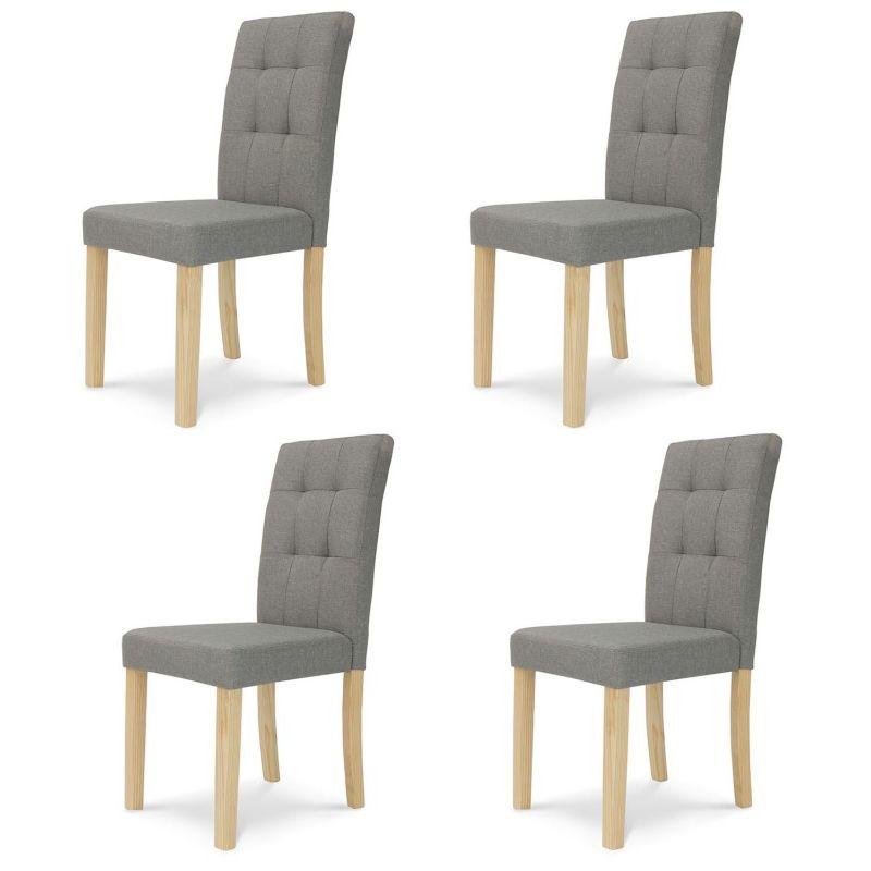 Lot de 4 chaises Polga capitonnées grises pour salle à manger