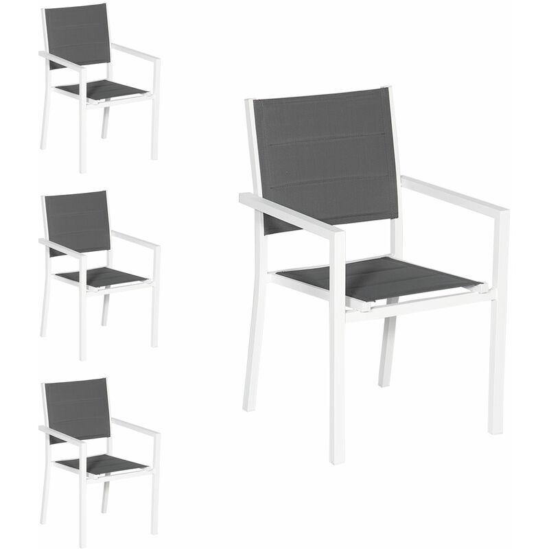 Lot de 4 chaises rembourrées en aluminium blanc - textilène gris - Gris
