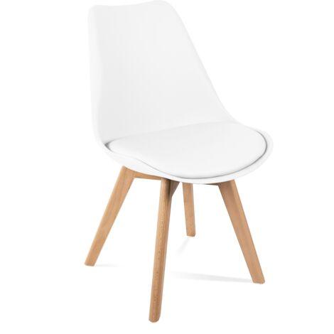 Lot de 4 Chaises retro blanches rembourrées, design nordic tulip -Mc Haus