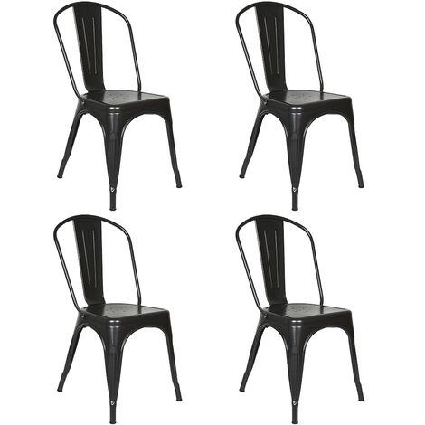 Lot de 4 Chaises Salle à Manger Style Industriel en Métal Empilable Tabouret de Cuisine Vintage Assise Métal 85*45*45cm Noir
