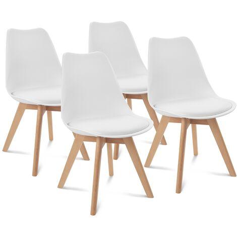 Lot de 4 chaises SARA blanches pour salle à manger design scandinave