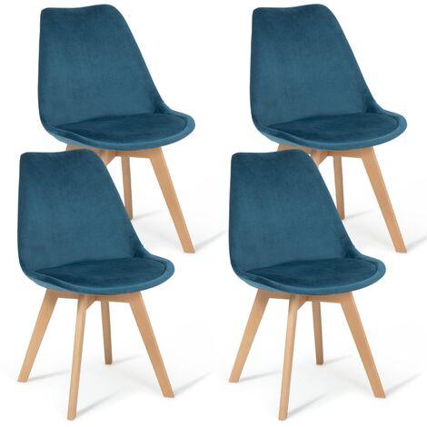 "main image of ""Lot de 4 chaises SARA en velours bleu canard"""