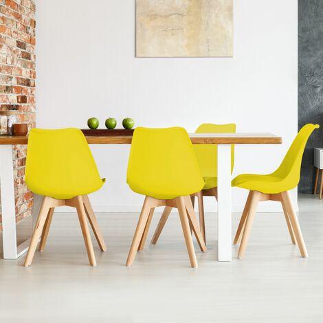 Lot de 4 chaises SARA jaunes pour salle à manger