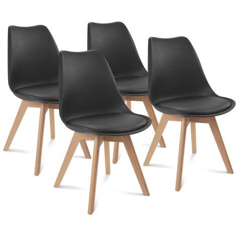 Lot de 4 chaises SARA noires pour salle à manger