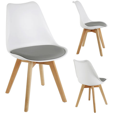 Lot de 4 chaises scandinave avec coussin super qualit Blanc/gris