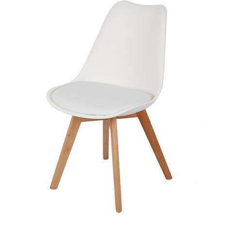 Lot de 4 chaises scandinave blanc avec coussin super qualité