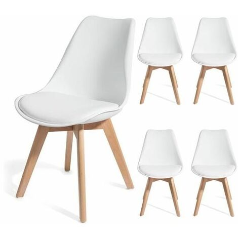 Lot de 4 chaises scandinave blanc GALA
