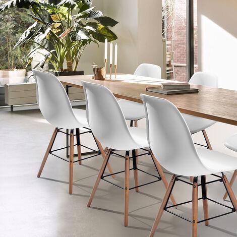 Lot de 4 chaises scandinave blanches plastique