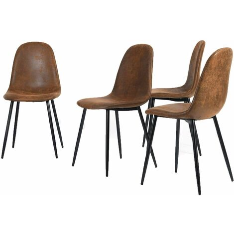 Lot de 4 Chaises Scandinave Design Tissu en Daim Marron Pied Métal Noir Salle à manger