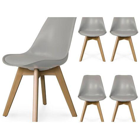 Lot de 4 chaises scandinave gris GALA