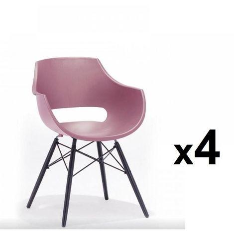 Lot de 4 chaises scandinave REMO coque rouge piétement hêtre laque noir mat - rouge
