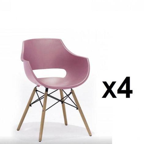Lot de 4 chaises scandinave REMO coque rouge piétement hêtre naturel - rouge