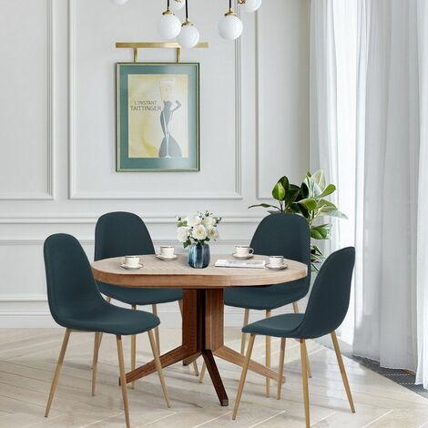 Lot de 4 chaises scandinave salle à manger tissu bleu métal look bois