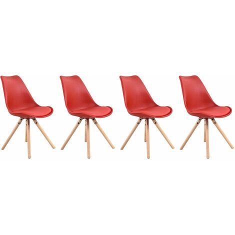 Lot de 4 chaises scandinaves ANITA rouge avec coussin - Rouge