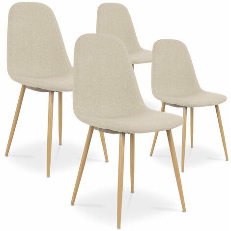Lot de 4 chaises scandinaves Bali tissu Beige