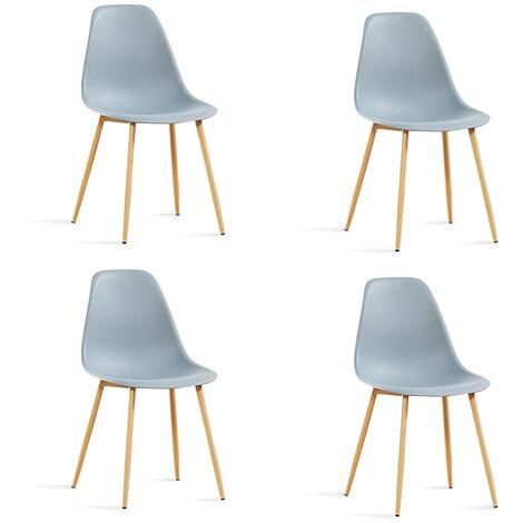 Lot de 4 chaises scandinaves blanches - Ela - Designetsamaison - Blanc