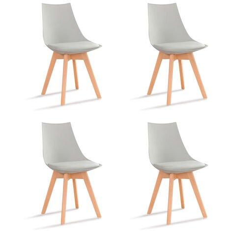 Lot de 4 chaises scandinaves blanches - Prague - Designetsamaison - Blanc