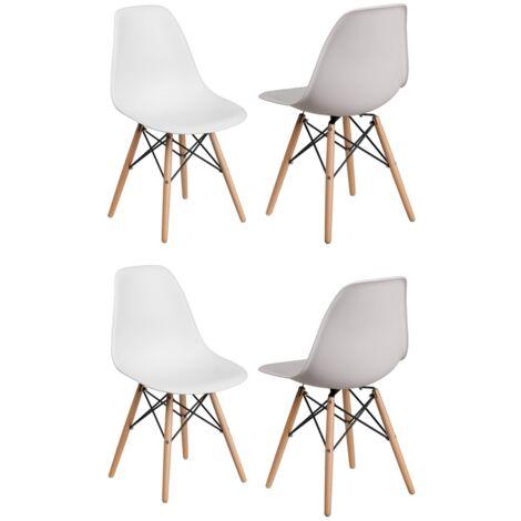 Lot de 4 Chaises Scandinaves Blanches Style Eiffel - Salle à Manger, Cuisine