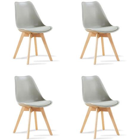 Lot de 4 chaises scandinaves bleues patchwork - Bjorn - Designetsamaison - Bleu