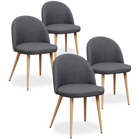 Lot de 4 chaises scandinaves Cecilia tissu Gris foncé
