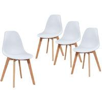 Lot de 4 chaises scandinaves coloris blanches en polypropylène et hêtre massif - Dim : 47 x 52 x 85 cm -PEGANE-
