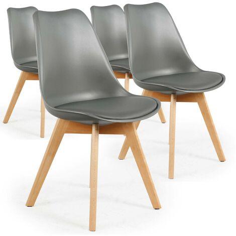Lot de 4 chaises scandinaves Conor Simili (P.U) Gris - Gris