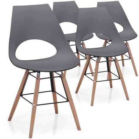 Lot de 4 chaises scandinaves Dani Noir