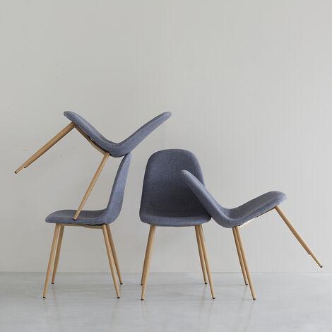 Lot de 4 chaises scandinaves en tissu gris