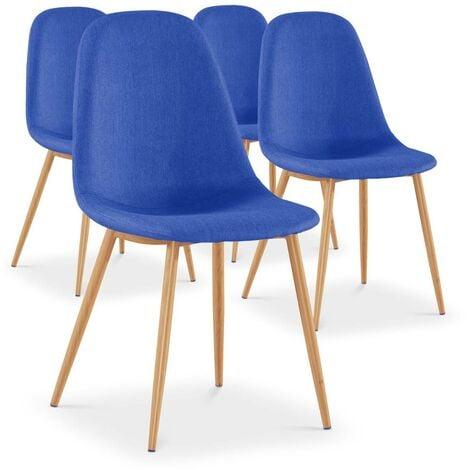Lot de 4 chaises scandinaves Gao Tissu Bleu - Bleu