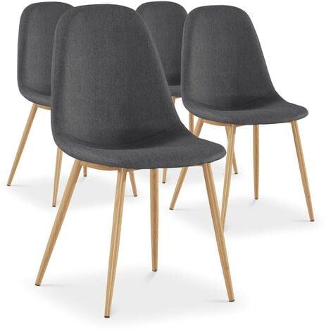 Lot de 4 chaises scandinaves Gao Tissu Gris - Gris