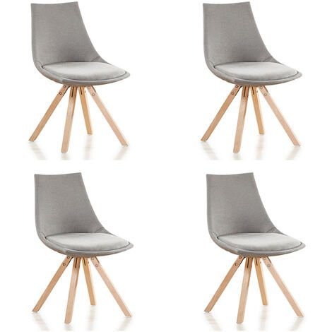 """main image of """"Lot de 4 chaises scandinaves grises en tissu - Minsk - Designetsamaison - Gris"""""""