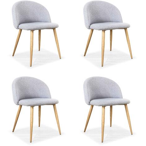 Lot de 4 chaises scandinaves grises - Rossi - Designetsamaison - Gris