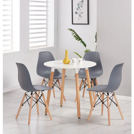 Lot de 4 Chaises Scandinaves Grises Style Eiffel - Salle à Manger, Cuisine