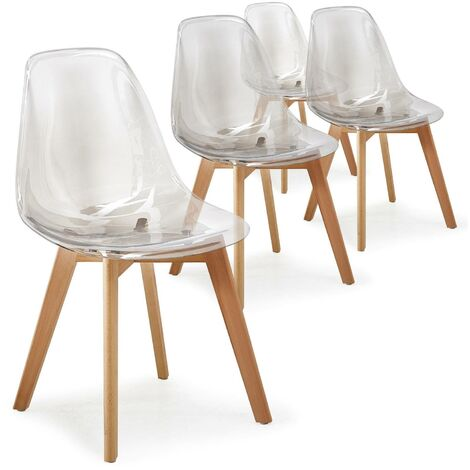 Lot de 4 chaises scandinaves Larry plexi Fumé - Gris