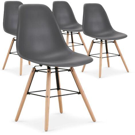 Lot de 4 chaises scandinaves Lisa Noir - Noir