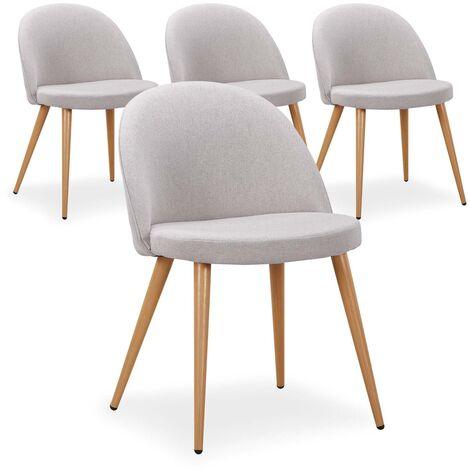 Lot de 4 chaises scandinaves Maury tissu Gris - Gris