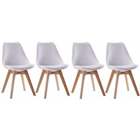 Lot de 4 chaises scandinaves NORA blanches avec coussin - Blanc