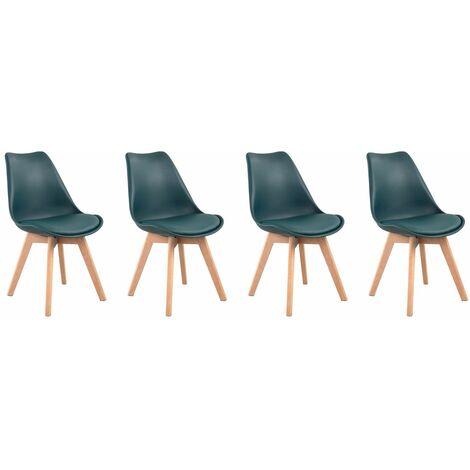 Lot de 4 chaises scandinaves NORA bleues avec coussin - Bleu