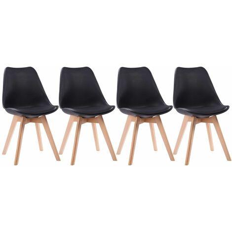 Lot de 4 chaises scandinaves NORA noires avec coussin - Noir
