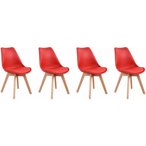 Lot de 4 chaises scandinaves NORA rouge avec coussin - Rouge