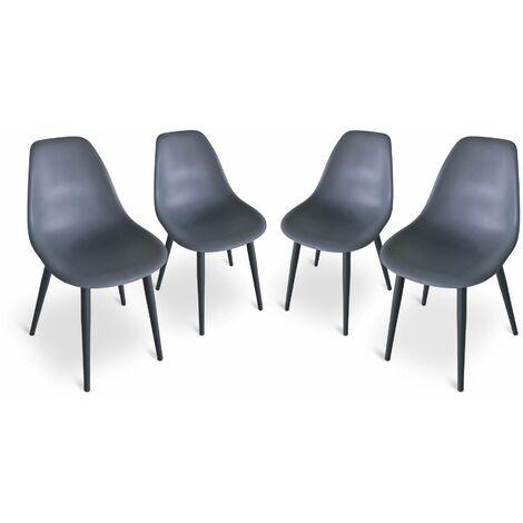 Lot de 4 chaises scandinaves PADAR, métal et résine injectée, gris foncé, intérieur/extérieur